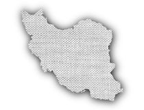 Map of Iran on old linen Royalty Free Stock Image