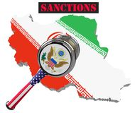 Sanctions against Iran, map of Iran. 3d illustration. Flying steel ball on chain Isolated on white background. Map of Iran. United States sanctions against to Stock Images