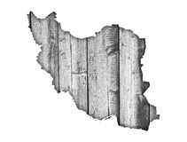 Map of Iran on weathered wood Stock Image