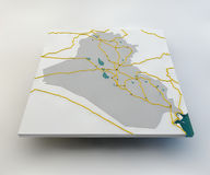 Map of Iraq, the Iraqi state, boundaries, roads and cities Royalty Free Illustration