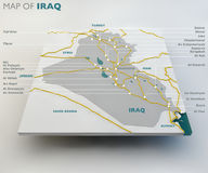 Map of Iraq, the Iraqi state, boundaries, roads and cities Royalty Free Stock Images