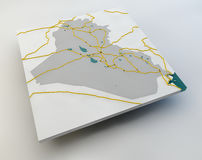 Map of Iraq, the Iraqi state, boundaries, roads and cities Royalty Free Stock Photo