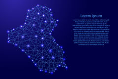 Map of Iraq from polygonal blue lines, glowing stars vector illustration Stock Images