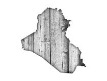 Map of Iraq on weathered wood Stock Photos
