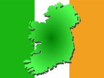 Map of Ireland. And Irish flag illustration Stock Photo