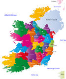 Map of Ireland. Ireland map designed in illustration with regions colored in bright colors. Vector illustration