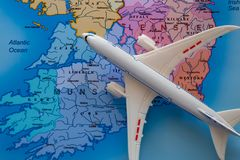 Map of Ireland with Boeing and Travel stock images