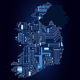 Map of Ireland with electronic circuit Royalty Free Stock Photography