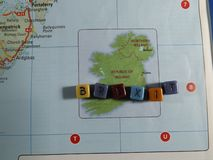 A map of Ireland England with Brexit written in blocks. A map of Ireland England with Brexit written in coloured blocks blocks royalty free stock image