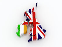 Map of Ireland and England. Royalty Free Stock Photos