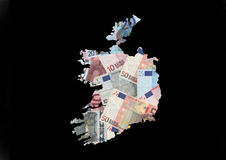 Map of Ireland with euros Stock Image