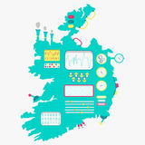 Map of Ireland machine. Map of Ireland like a cute machine with buttons, panels and levers. Isolated. White background royalty free illustration