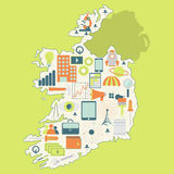 Map of Ireland with technology icons Royalty Free Stock Images