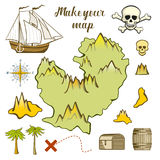 Map of island - game for kids with ship, island. Make your map of island - game for kids with ship, island silhouette, treasure, skull. Vector illustration Royalty Free Stock Images