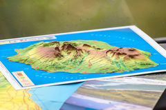 Map of the island of Reunion. La Reunion, France - December 24, 2015: Three-dimensional map of the island of Reunion in the tourist bus, La Reunion Island Royalty Free Stock Images