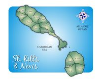 Map of Island St. Kitts (Saint Christopher/Nevis)  Royalty Free Stock Photos