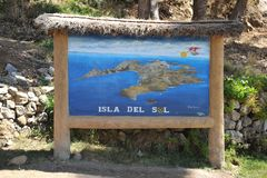 Map of the island of the Sun is located on lake Titicaca. Royalty Free Stock Photos