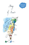 Map Israel attractions. Hand drawn, watercolor - vector Illustration royalty free illustration