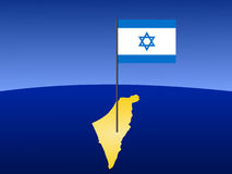 Map of Israel with flag Royalty Free Stock Image
