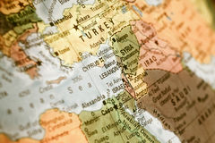 Map of Israel ,Turkey,Jordan, Lebanon Royalty Free Stock Images