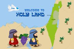 Map of Israel with two spies, Welcome to Holy Land. Welcome to Holy Land, map of Israel with cartoon characters of Two spies of Israel carrying grapes Royalty Free Stock Photo