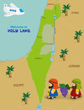 Map of Israel with two spies. Welcome to Holy Land, map of Israel with cartoon characters of Two spies of Israel carrying grapes. Vector illustration Royalty Free Stock Photos