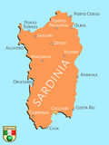 Map of Italian isle of Sardinia Royalty Free Stock Photo