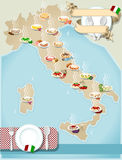 Map of Italians pasta. Detailed illustration of a Map of distribution Italians pasta Stock Photo