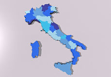 Map of Italy. Divided into regions Stock Photography
