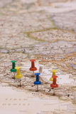 Map of italy. Pins showing the location of a destination point on a italy map Royalty Free Stock Images
