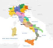 Map of Italy. With the countries and provincial capitals Stock Photography