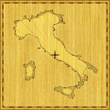 Map of Italy. Computer generated illustration of vintage wood carved map of Italy Royalty Free Stock Photography