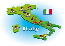 Map of Italy. With icons Royalty Free Stock Photo