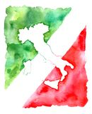 Map of Italy.Abstract flag. royalty free illustration