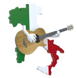 Map of Italy with arms that play guitar Stock Photo