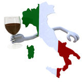 Map of Italy cheers. With a glass of red wine Stock Images