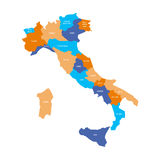 Map of Italy divided into 20 administrative regions in four colors. White labels. Simple flat vector illustration.  Stock Photo