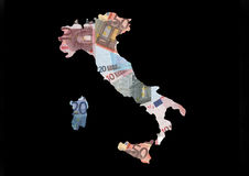 Map of Italy with euros. Map of Italy with collage of colourful euro notes illustration Royalty Free Stock Photography