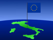 Map of italy with flag Stock Photography