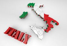 Map of Italy with flag. 3D Map illustration of Italy with flag Stock Image