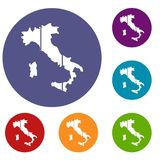 Map of Italy icons set Royalty Free Stock Image