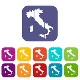 Map of Italy icons set Royalty Free Stock Photo