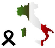 Map of Italy illustrated with black ribbon Stock Image