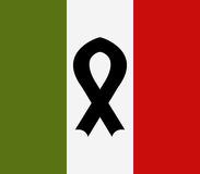 Map of Italy illustrated with black ribbon Stock Photo
