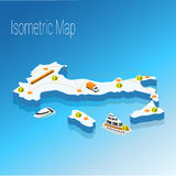 Map Italy isometric concept. 3d flat illustration of Map Italy Royalty Free Stock Photo