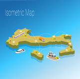 Map Italy isometric concept. Royalty Free Stock Images