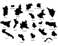 Map of Italy - regions Stock Image