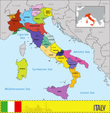 Map of Italy with regions and their capitals Royalty Free Stock Image