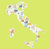 Map of Italy with technology icons Stock Photos