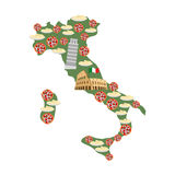 Map of Italy. Traditional Italian food symbols: Pizza and pasta. National  landmarks of country: leaning tower of Pisa,  Colosseum Royalty Free Stock Photography